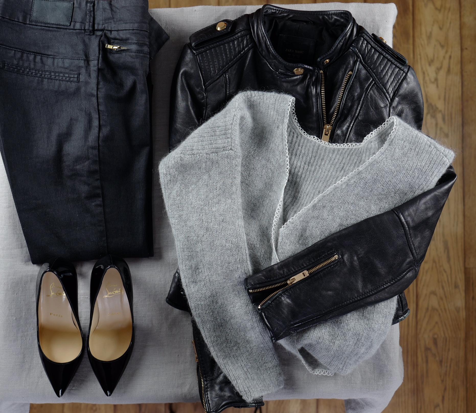 Pantalon H&M, pull Sophie Sezane, escarpins noirs vernis CosmoParis, blouson cuir Zara