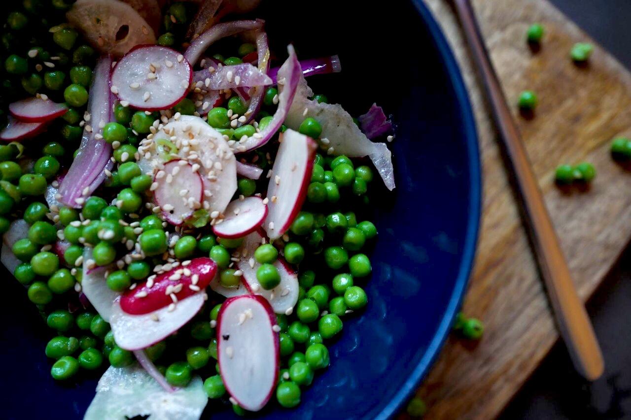 Salade de petits pois & radis, recette healthy